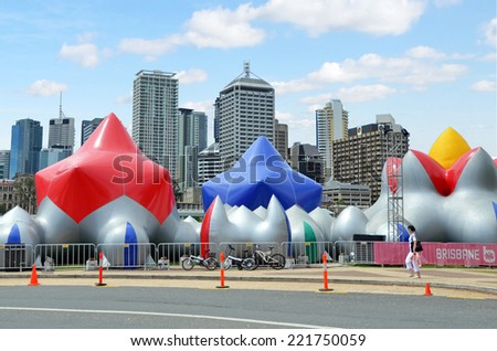 BRISBANE, AUS - SEP 25 2014:Visitors at South Bank Parklands.It's one of Brisbane's most important cultural precincts host  festivals and events.Approximately 11,000,000 people visit Parklands a year. - stock photo