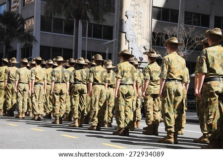 BRISBANE, AUSTRALIA - APRIL 25 :Army Cadets at attention before march during Anzac day centenary commemorations April 25, 2015 in Brisbane, Australia