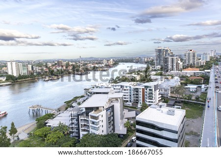 BRISBANE, AUSTRALIA: Brisbane cityscape on Brisbane River