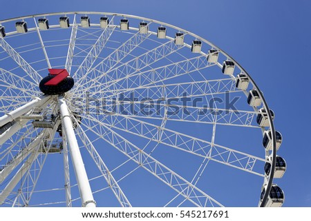 BRISBANE, AUSTRALIA - December 28, 2016: The Wheel of Brisbane is an almost 60 metres tall ferris wheel installed in Brisbane, Australia.