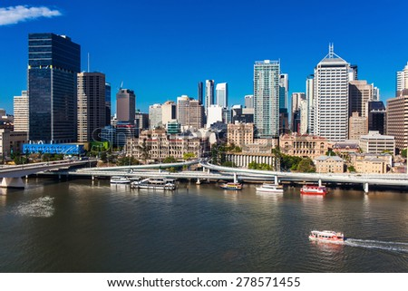 BRISBANE, AUSTRALIA-DECEMBER 29 2013:View of Brisbane from South Bank over the river. Brisbane is the capital of QLD and the third largest city in Australia. December 29, 2013 Brisbane, Australia - stock photo