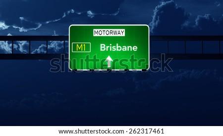 Brisbane Australia Highway Road Sign at Night - stock photo