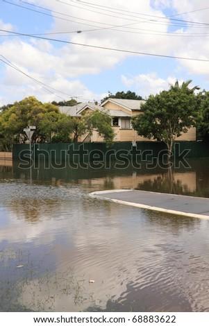 BRISBANE, AUSTRALIA - JAN 13 : Flood  Brisbane  auchenflower area Queensland declared natural disaster January 13, 2011 in Brisbane, Australia - stock photo
