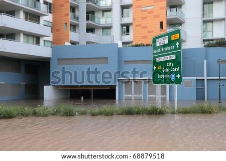BRISBANE, AUSTRALIA - JAN 13 : Flood  Brisbane City  area Queensland declared natural disaster January 13, 2011 in Brisbane, Australia - stock photo