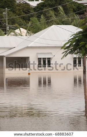 BRISBANE, AUSTRALIA - JAN 13 : Flood  Brisbane  milton area Queensland declared natural disaster January 13, 2011 in Brisbane, Australia - stock photo