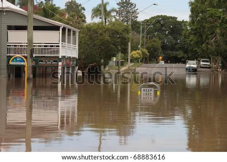 BRISBANE, AUSTRALIA - JAN 13 : Flood  Brisbane  Rosalie area Queensland declared natural disaster January 13, 2011 in Brisbane, Australia - stock photo