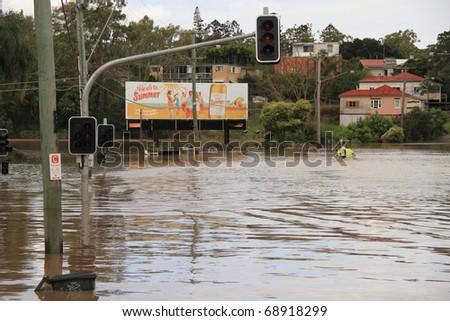 BRISBANE, AUSTRALIA - JAN 13 : Flooded  Brisbane City  area Queensland declared natural disaster January 13, 2011 in Brisbane, Australia - stock photo