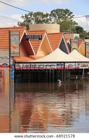 BRISBANE, AUSTRALIA - JAN 13 : Flooded  Brisbane rosalie area Queensland declared natural disaster January 13, 2011 in Brisbane, Australia - stock photo