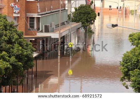 BRISBANE, AUSTRALIA - JAN 13 : Flooded  Brisbane south bank area January 13, 2011 in Brisbane, Australia - stock photo