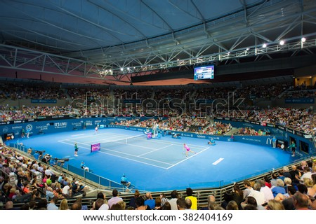 BRISBANE, AUSTRALIA - JANUARY 7 :Ambiance inside Pat Rafter Arena at the 2016 Brisbane International WTA Premier tennis tournament