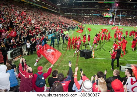 BRISBANE, AUSTRALIA – JULY 10: The Queensland Reds run out onto Suncorp Stadium ahead of their Super Rugby Grand Final Victory against the New Zealand Crusaders on July 10 2011 in Brisbane.