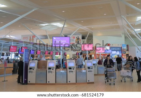 BRISBANE AUSTRALIA - JULY 10, 2017: Unidentified people travel at Brisbane International airport.