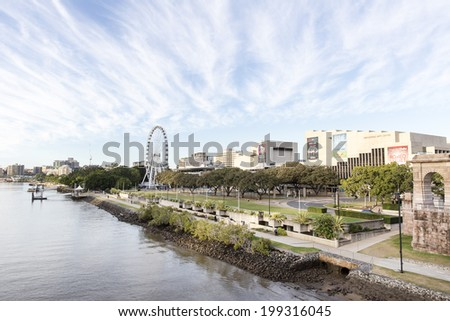 BRISBANE, AUSTRALIA - JUNE 16, 2014: Southbank Parklands and the Brisbane Wheel, located on the southern bank of the Brisbane river.