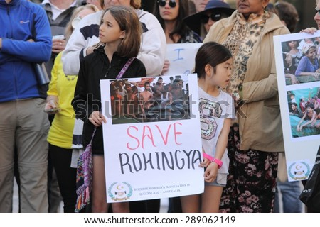 BRISBANE, AUSTRALIA - JUNE 20 : Unidentified protesters in support of the Rohingya people as part of World Refugee Rally