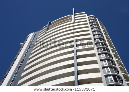 BRISBANE, AUSTRALIA - MARCH 20: Observatory Tower building on March 20, 2008 in Brisbane, Australia. The 80m tall building finished in 2005 is considered one of most prestigious apartment locations. - stock photo