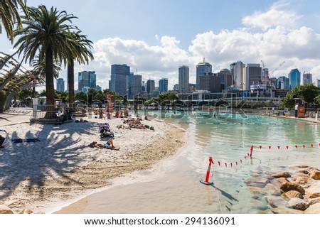 BRISBANE; AUSTRALIA May 28, 2014: artificial beach at the former expo area in brisbane