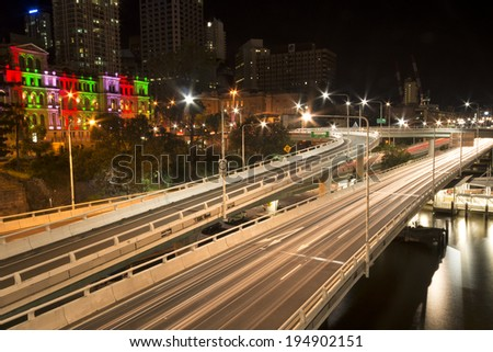 Brisbane, Australia - May 24th, 2014: Overpasses with Cityscape of Brisbane city CBD in Australia on a clear night.?