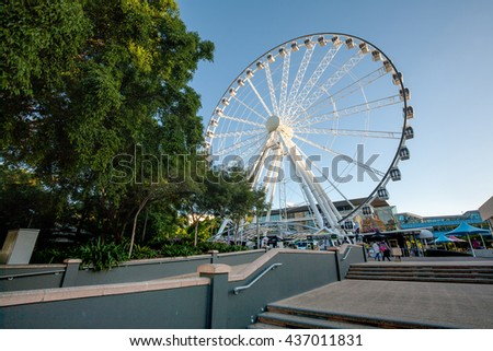 "BRISBANE, AUSTRALIA - MAY 05: The Wheel of Brisbane, It's a Bussink R60 transportable Ferris wheel installation in Brisbane, Queensland, Australia. It is ""almost"" 60 metres tall on May 05, 2016"