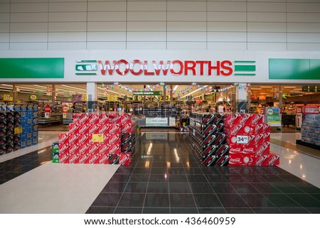 BRISBANE, AUSTRALIA - MAY 04: Woolworths Supermarkets, It's a supermarket / grocery store chain in Australia and mostly specialises in selling groceries. Currently operates 980 stores on May 04, 2016