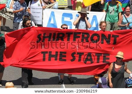 BRISBANE, AUSTRALIA - NOVEMBER 15: Briscan20 anti government anti g20 protest on November 15, 2014 in Brisbane, Australia - stock photo