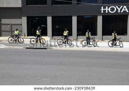 BRISBANE, AUSTRALIA - NOVEMBER 14: Police cordonduring leaders summit for g20 on November 14, 2014 in Brisbane, Australia - stock photo