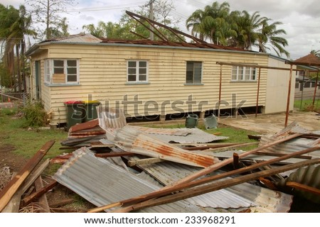BRISBANE, AUSTRALIA - NOVEMBER 28 : Roof blown off house from super cell hail storm area declared disaster on November 28, 2014 in Brisbane, Australia - stock photo