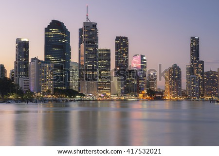 Brisbane, Australia - 23rd April, 2016: View of Brisbane City from Kangaroo Point during the day on the 23rd of April 2016. - stock photo