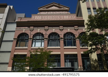 Brisbane, Australia September 2016 - editorial use only: Facade of former Finney Isles department store in Adelaide Street