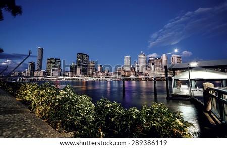 Brisbane, Australia - skyline of a contemporary skyscraper city - stock photo