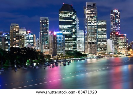 brisbane city at night view from kangaroo point (queensland,australia) - stock photo