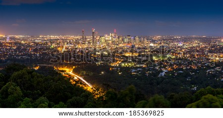 Brisbane city by night - stock photo
