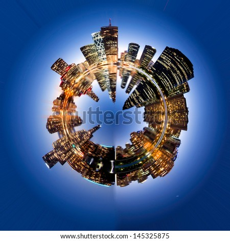 Brisbane city in sphere - stock photo