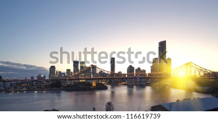 Brisbane city, night - stock photo