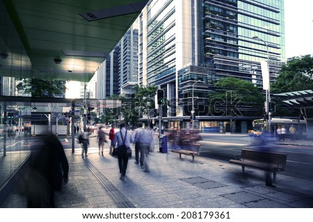 Brisbane city pedestrians, traffic - stock photo