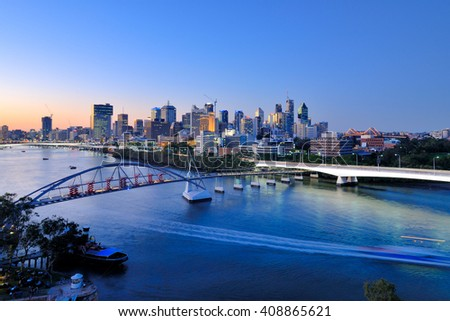 Brisbane city skyline and Brisbane river viewing from Kangaroo Point - stock photo