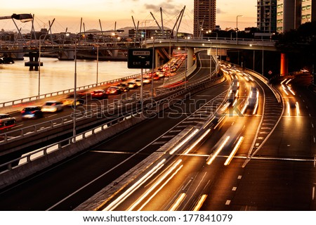 Brisbane city traffic - stock photo