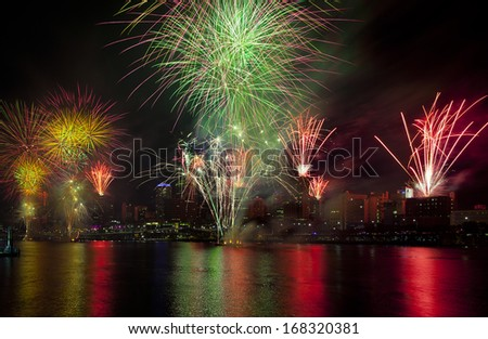 Brisbane festival firework display. Multiple explotions over the Brisbane city river in Queensland Australia - stock photo