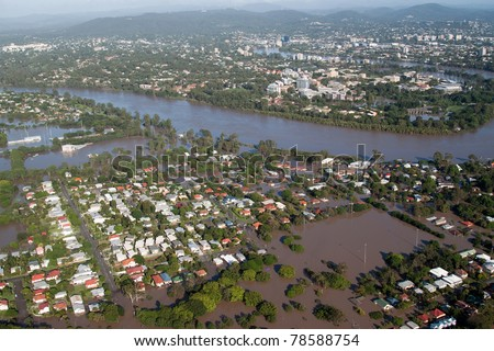 Brisbane Flood of 2011 in which 28,000 homes were flooded - the worst natural disaster in the history of the city in Queensland, Australia. - stock photo