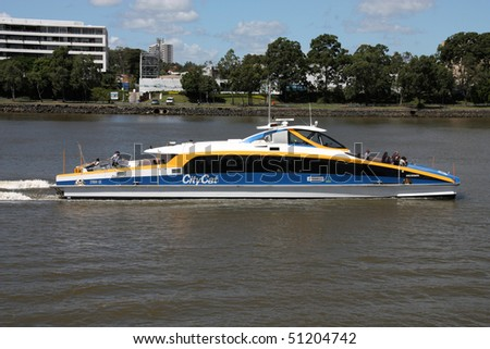 BRISBANE - MARCH 20: Famous CityCat catamaran, public ferry service on March 20, 2009 in Brisbane. Six new CityCats are going to enter service in next four years, with fourteen already in service.
