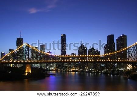 Brisbane Night Australia - stock photo