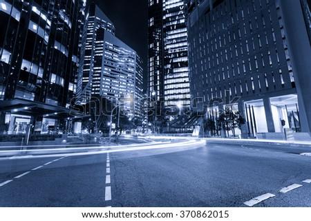 Brisbane night city traffic - stock photo