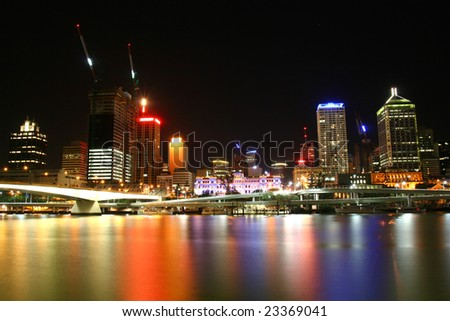 Brisbane night city view, Queensland Australia - stock photo