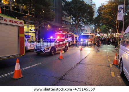 BRISBANE, QUEENSLAND, AUSTRALIA - AUGUST 24: Emergency situation at a hotel on August 24 2016.