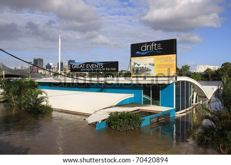 BRISBANE, QUEENSLAND/AUSTRALIA - JANUARY 13:Destroyed caffe name Drift Cafe on 13, 2011 in Milton, Brisbane, Queensland, Australia. - stock photo