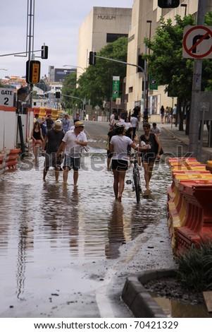 BRISBANE, QUEENSLAND/AUSTRALIA - JANUARY 13: Flooded street on January 13, 2011 in South Bank, Brisbane, Queensland, Australia. - stock photo