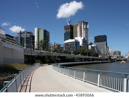 Brisbane, Queensland. Beautiful modern city view. Skyscrapers and cycling path. - stock photo