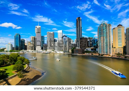 Brisbane River and City - stock photo