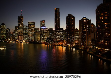 Brisbane river and office buildings in Brisbane, Queensland, Australia.