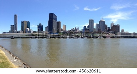 Brisbane Skyline panorama from the South Bank in Australia