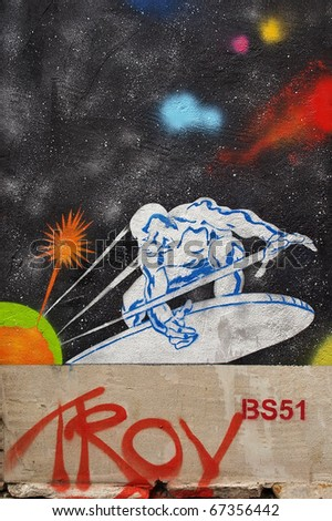 "BRISTOL - AUGUST 31: ""Art or vandalism?"" New 'Troy graffiti piece as Bristol City Council plans to ask public to vote whether graffiti be left to remain or removed on August 31, 2009 in Bristol, UK. - stock photo"
